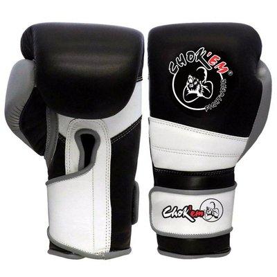 Lederen Handschoenen Punch Line Zwart/Wit/Grijs